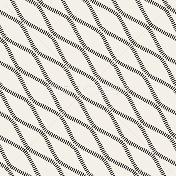 Vector Seamless Black and White Diagonal Stripy Wavy Lines Pattern Stock photo © Samolevsky