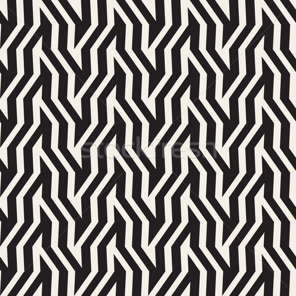 ZigZag Edgy Stripes Optical Illusion Effect. Vector Seamless Black and White Pattern. Stock photo © Samolevsky