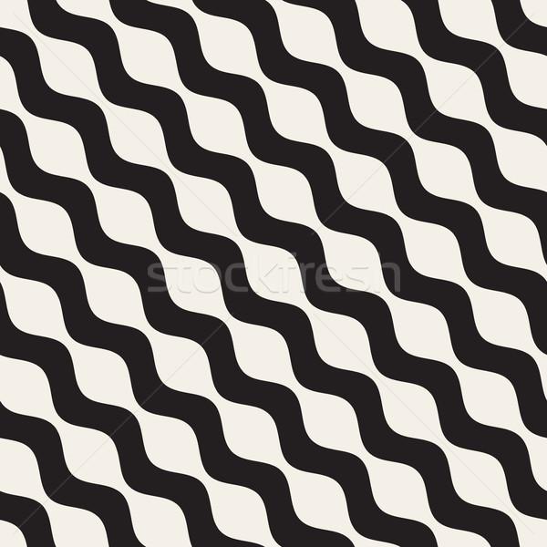 波状の リップル 行 ベクトル シームレス 黒白 ストックフォト © Samolevsky
