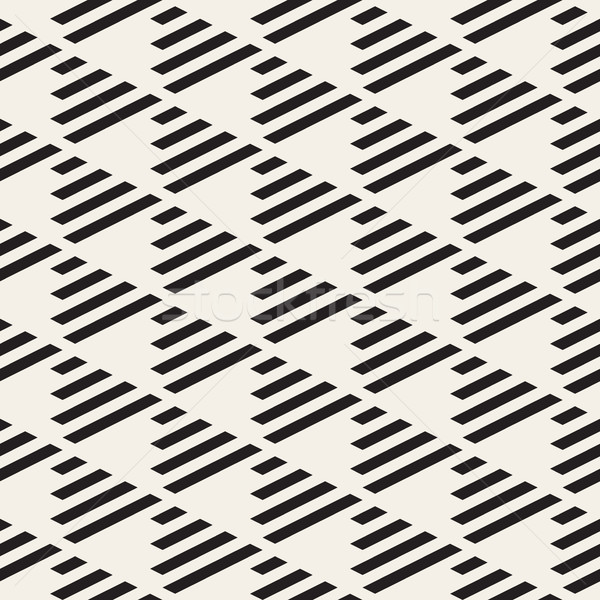 Vector Seamless Black and White Triangle Checker Grid Diagonal Parallel Lines Pattern Stock photo © Samolevsky