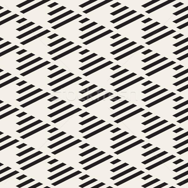 ベクトル シームレス 黒白 三角形 グリッド 対角線 ストックフォト © Samolevsky