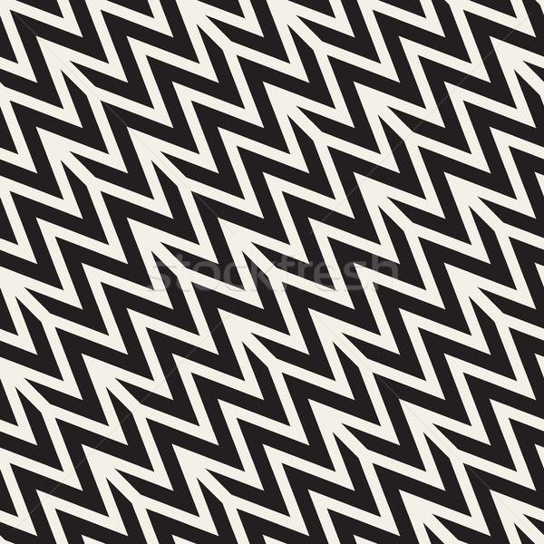 ジグザグ 神経質な ベクトル シームレス 黒白 ストックフォト © Samolevsky