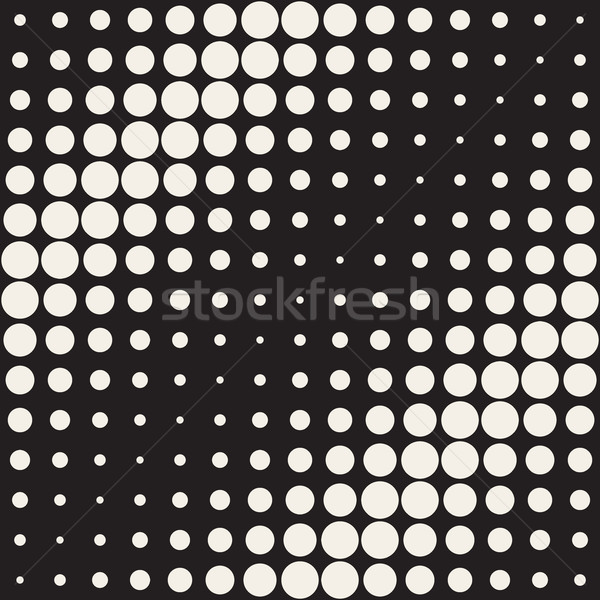 Vector Seamless Black and White Circles Diagonal Gradient Halftone Pattern Stock photo © Samolevsky