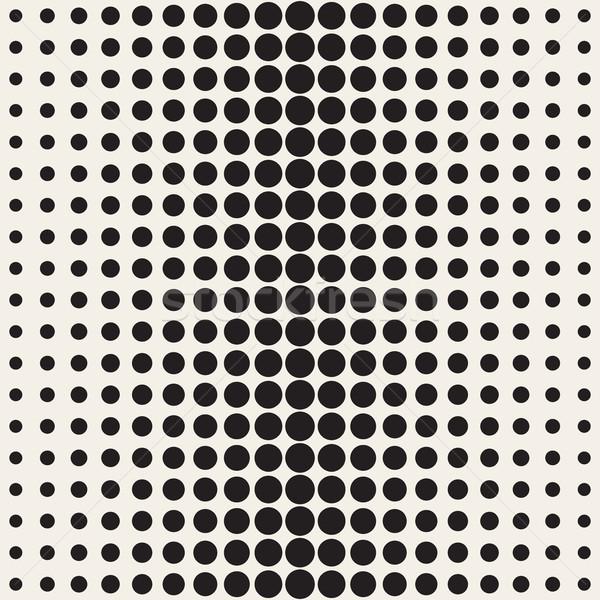 Vector Seamless Black and White Circle Gradient Halftone Pattern Stock photo © Samolevsky