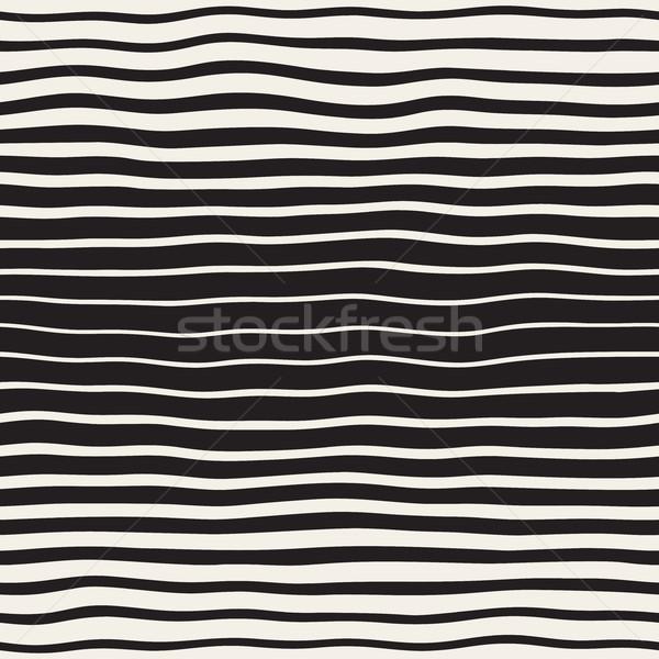 Vector Seamless Black and White Hand Drawn Horizontal Wavy Lines Pattern Stock photo © Samolevsky