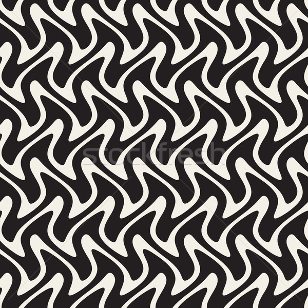 Hand Drawn Horizontal ZigZag Lines. Vector Seamless Black and White Pattern. Stock photo © Samolevsky