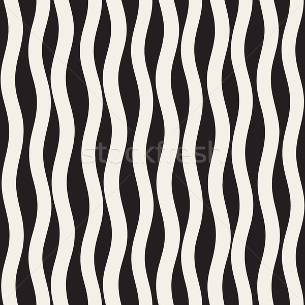 Vector Seamless Black and White Hand Drawn Wavy Lines Pattern Stock photo © Samolevsky