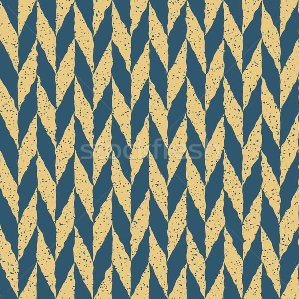 Vector Seamless Blue Yellow Color Hand Drawn Checker Distorted Parallelograms Grungy Arrows Pattern Stock photo © Samolevsky