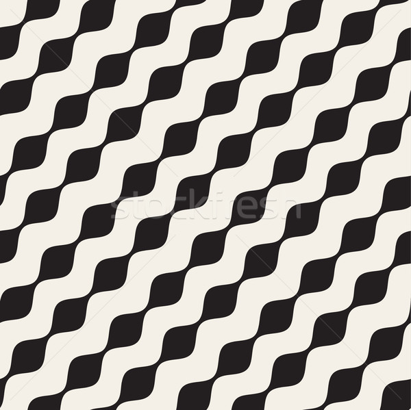 Vector Seamless Black and White Diagonal Wavy Lines Pattern Stock photo © Samolevsky
