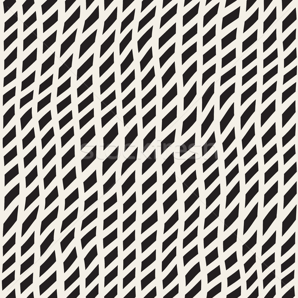 Hand Drawn Line Lattice. Vector Seamless Black and White Pattern. Stock photo © Samolevsky