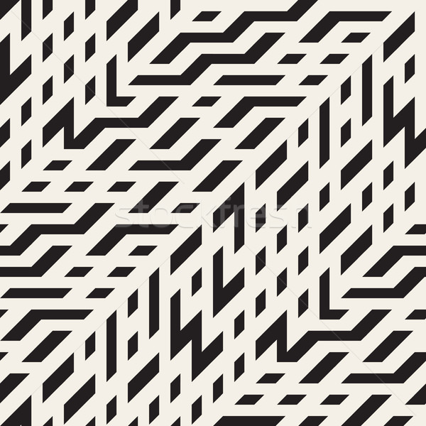 Vector Seamless Black and White Diagonal Techno Lines Irregular Pattern Stock photo © Samolevsky