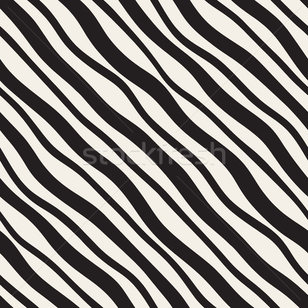 Vector Seamless Diagonal Wavy Lines Pattern. Modern monochrome texture. Stock photo © Samolevsky