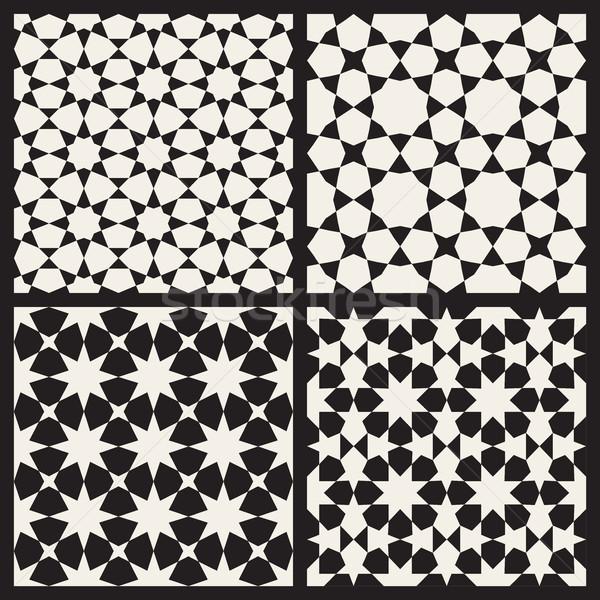 Set of Four Vector Seamless Islamic Stars Tessellation Geometric Pattern Stock photo © Samolevsky