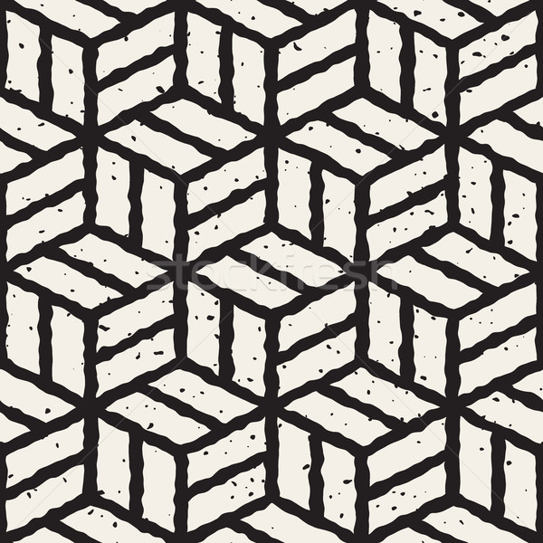 Vector Seamless  Hand Painted Line Geometric Cubic Pavement Pattern Stock photo © Samolevsky