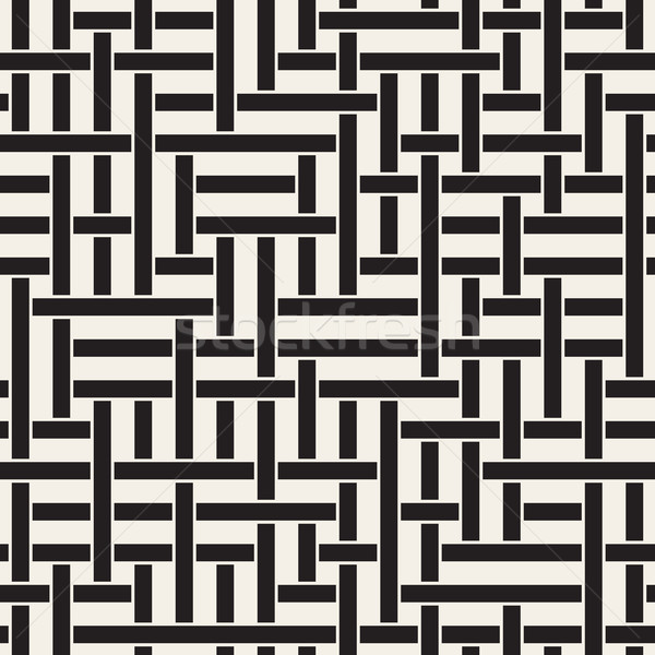 Vector Seamless Black and White Geometric Interlacing Lines Irregular Pattern Stock photo © Samolevsky