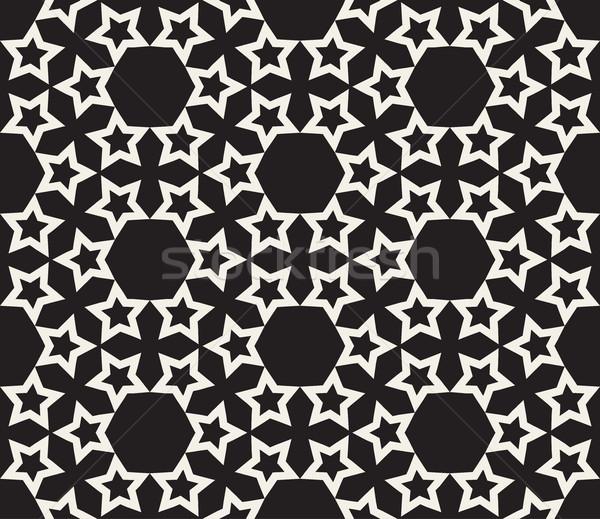 Vector naadloos sterren geometrisch patroon zwart wit abstract Stockfoto © Samolevsky