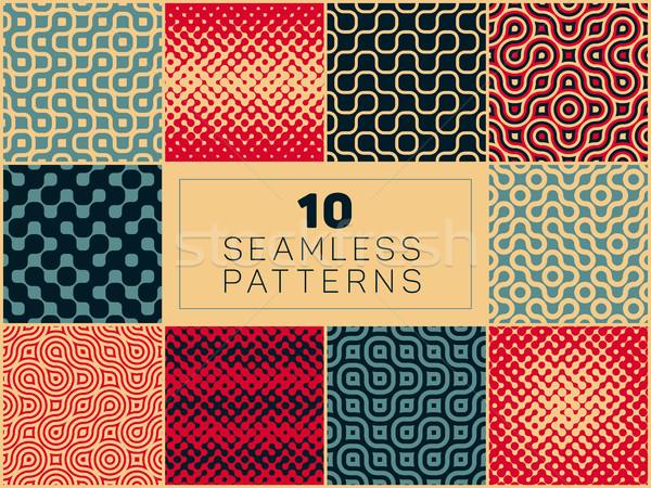 ベクトル シームレス 幾何学的な ハーフトーン レトロな パターン ストックフォト © Samolevsky