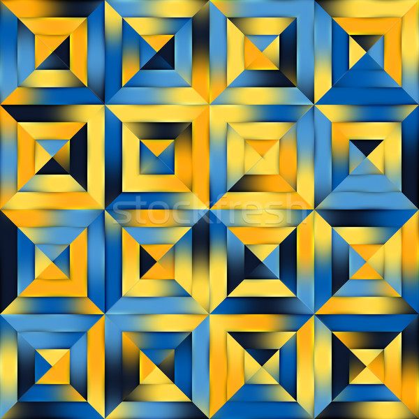 Raster Blue Yellow Gradient Seamless Quilt Square Diagonal Geometric Patchwork Stock photo © Samolevsky