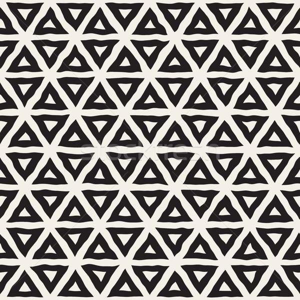 Vektor végtelenített feketefehér kézzel rajzolt háromszög vonalak Stock fotó © Samolevsky