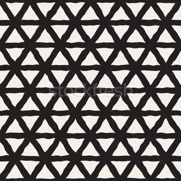 ベクトル シームレス 黒白 三角形 行 グリッド ストックフォト © Samolevsky
