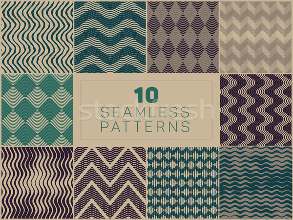 Set of Ten Vector Seamless Hand Drawn  LinoCut Patterns Stock photo © Samolevsky