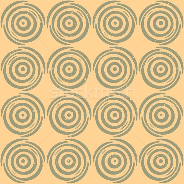 Vector Seamless Hand Drawn Geometric Lines Circular Round Pattern Stock photo © Samolevsky