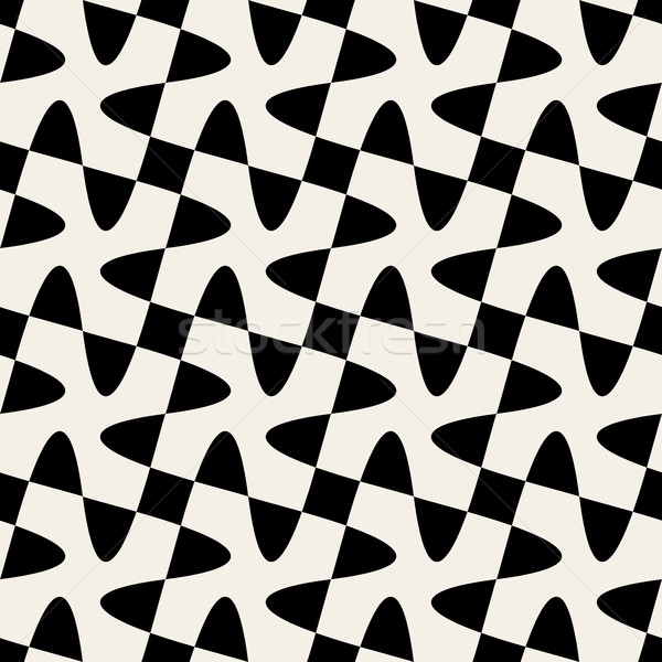 Seamless Black White Vector Geometric Swirl Cross Checker Pattern Stock photo © Samolevsky