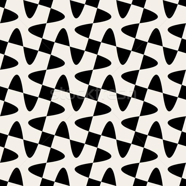 Stock photo: Seamless Black White Vector Geometric Swirl Cross Checker Pattern
