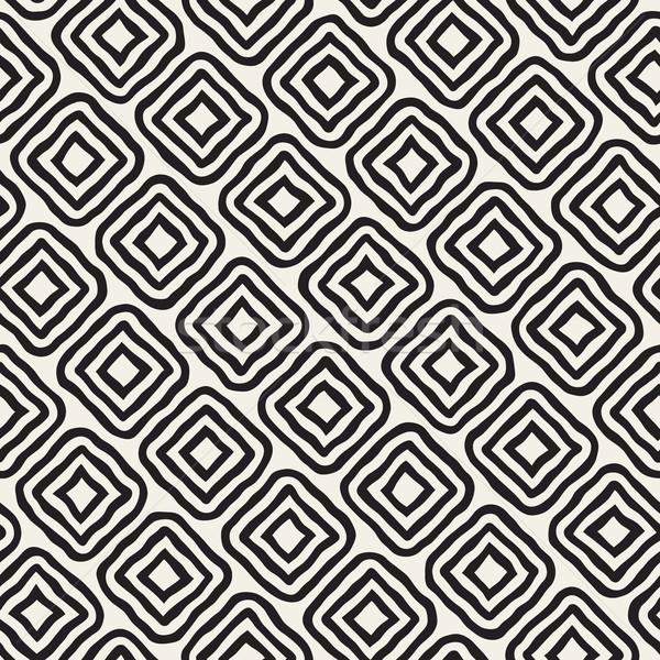 Vector Seamless Black and White Hand Drawn Rhombus Lines Pattern Stock photo © Samolevsky