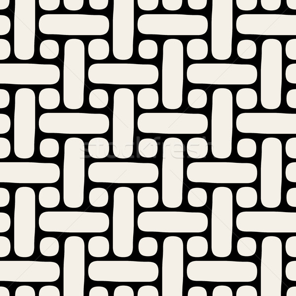 Rounded Lines and Circles Lattice. Vector Seamless Black  White Pattern. Stock photo © Samolevsky