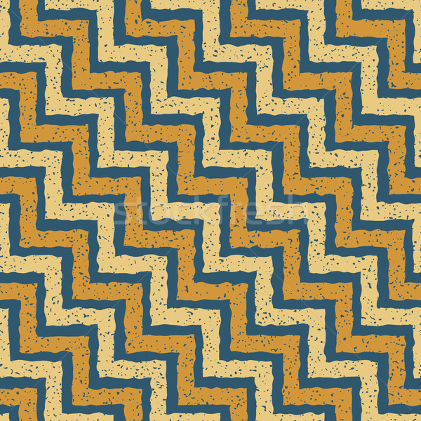 Vector Seamless Blue Yellow Color Hand Drawn ZigZag Distorted Step Lines Grungy Retro Chevron Patter Stock photo © Samolevsky