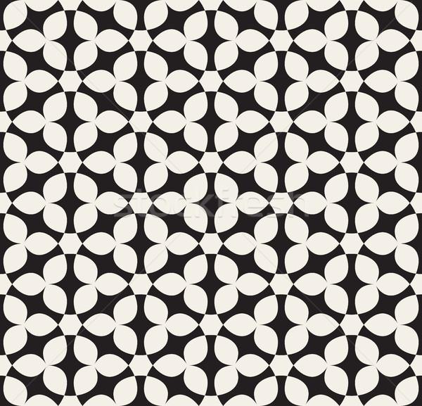 Vector Seamless White Hexagonal Geometric Simple Floral Petal Pattern Stock photo © Samolevsky