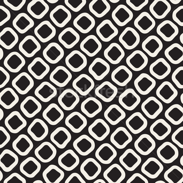 Vector Seamless Black and White Hand Drawn Rounded Rhombus Shapes Pattern Stock photo © Samolevsky