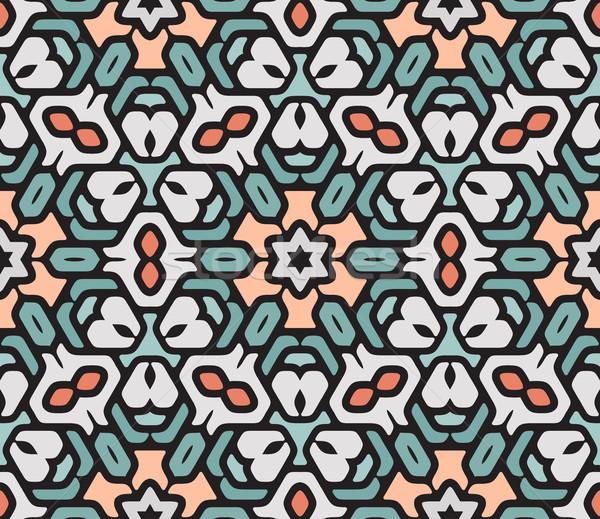 Vector Seamless Colorful Rounded Floral Oriental Hexagonal Mandala Pattern Stock photo © Samolevsky