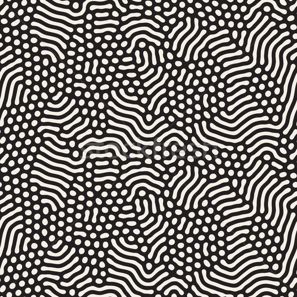 Organic Irregular Rounded Lines. Vector Seamless Black and White Pattern. Stock photo © Samolevsky