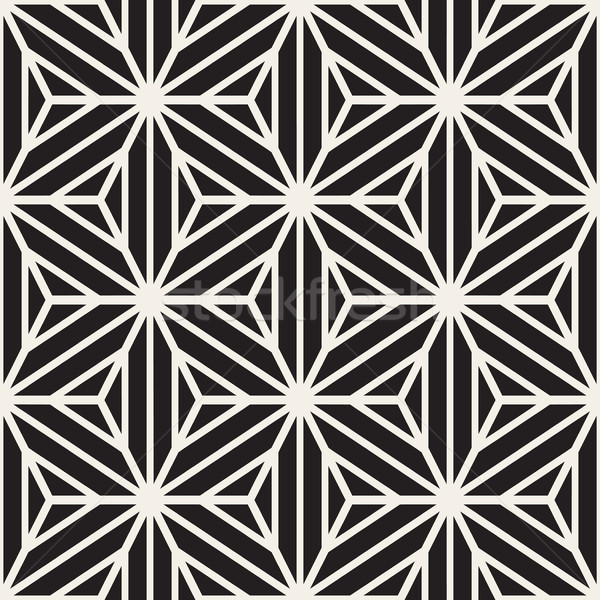 Vector Seamless Black And White Star Lines Grid Pattern Stock photo © Samolevsky