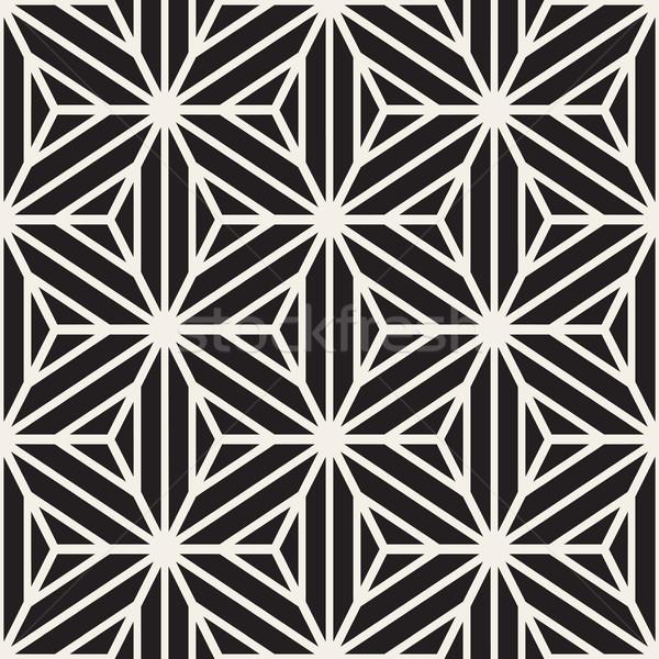 Vetor sem costura preto e branco estrela linhas grade Foto stock © Samolevsky