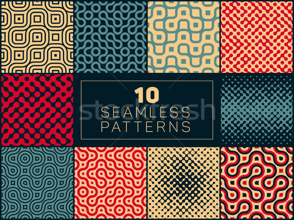 Set of Ten Vector Seamless Wavy Lines Truchet Irregular Halftone Patterns In Red Tan and Navy Colors Stock photo © Samolevsky
