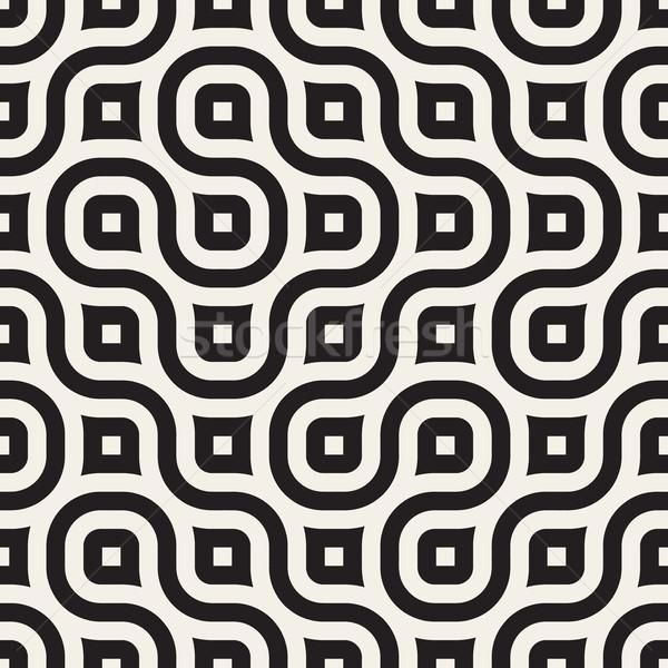 Vector Seamless Wavy Line Black and White Geometric Pattern Stock photo © Samolevsky