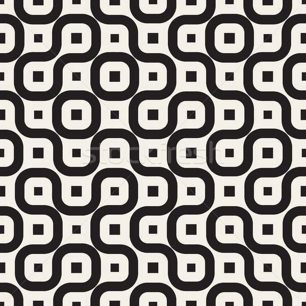 Vector Seamless Black And White Irregular Rounded Lines Pattern Stock photo © Samolevsky