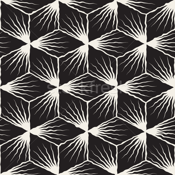 Vector Seamless Hand Painted Geometric SunBurst Lines Cubic Pattern Stock photo © Samolevsky
