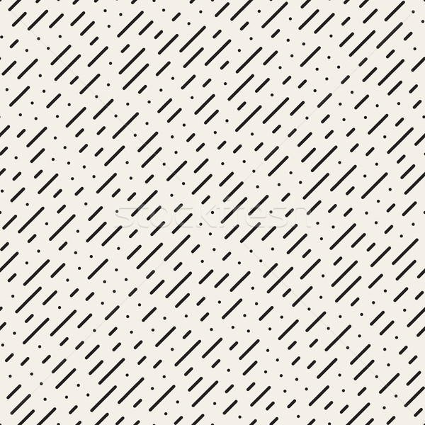 Vector Seamless Black and White Diagonal Dashed Lines Rain Pattern Stock photo © Samolevsky