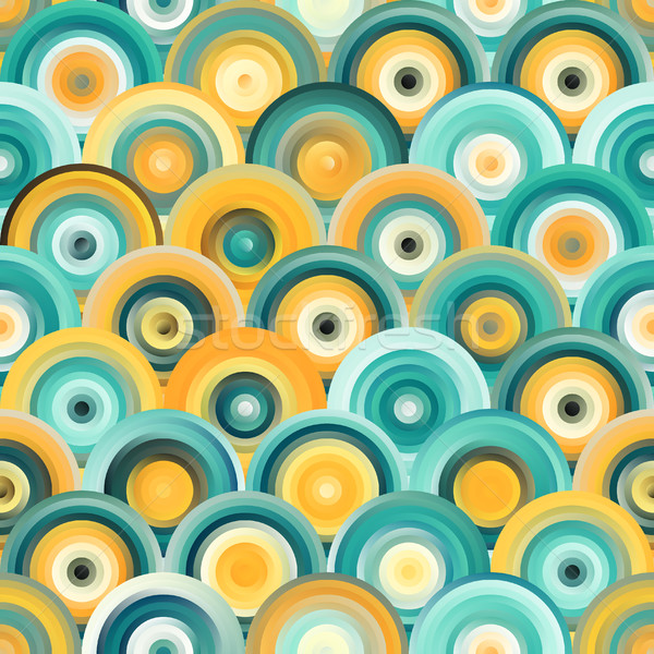 Vector Seamless Teal Orange Gradient Mesh Concentric Circles Pattern Stock photo © Samolevsky
