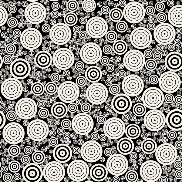 Vector BW Concentric Circles Mosaic Jumble Seamless Pattern Stock photo © Samolevsky