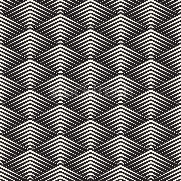 Vector Seamless Rhombus Grid Lines Geometric Pattern Stock photo © Samolevsky