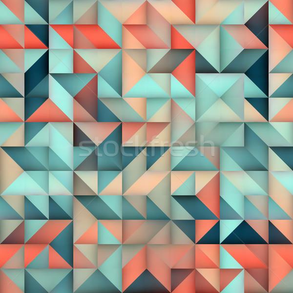 Vector Seamless Blue Pink Gradient Triangle Irregular Grid Square Pattern Stock photo © Samolevsky
