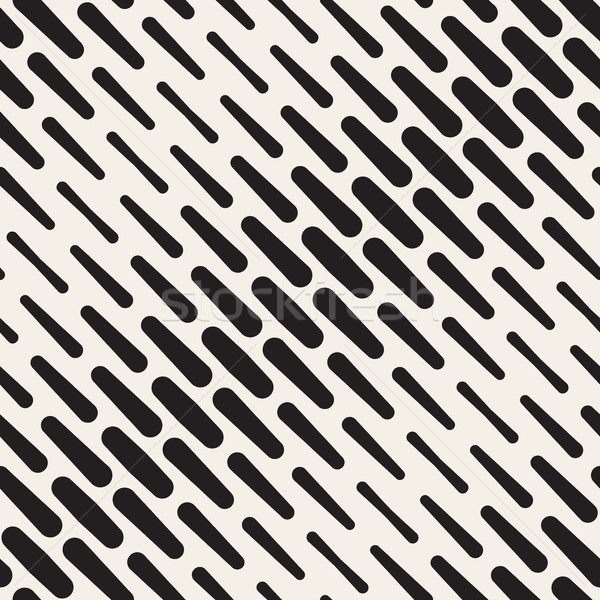 Vector Seamless Black and White Diagonal Rounded Lines Halftone Pattern Stock photo © Samolevsky