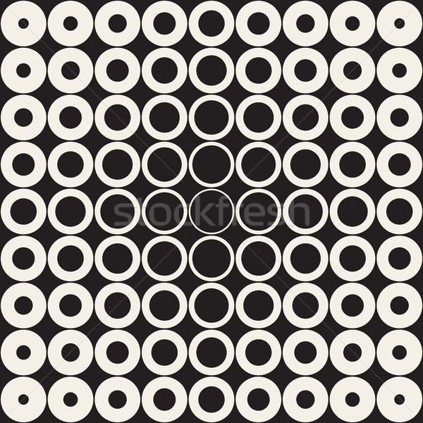 Stock photo: Vector Seamless Grid of Circles Retro Pattern
