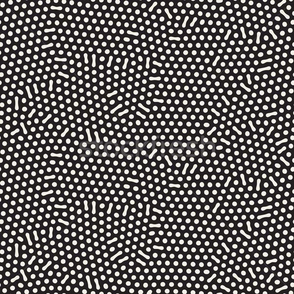 Organic Irregular Rounded Lines. Vector Seamless Black and White Pattern Stock photo © Samolevsky