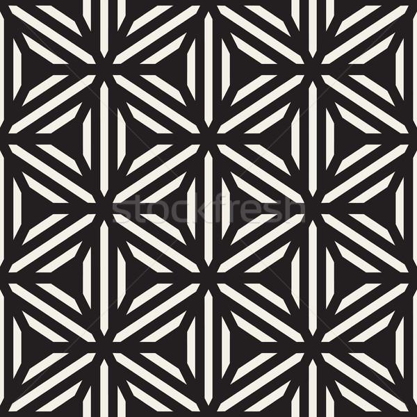 Vettore senza soluzione di continuità bianco nero line griglia disegno geometrico Foto d'archivio © Samolevsky
